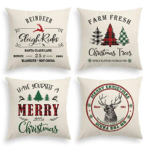 AVOIN Christmas Throw Pillow Cover, 18 x 18 Inch Winter Holiday Rustic Cushion Case for Sofa Couch Set of 4