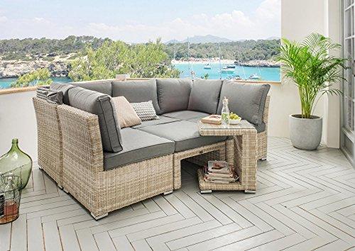 Destiny Lounge Loungegruppe Aruba Sitzgruppe Sofaset Faltdach Polyrattan - 8
