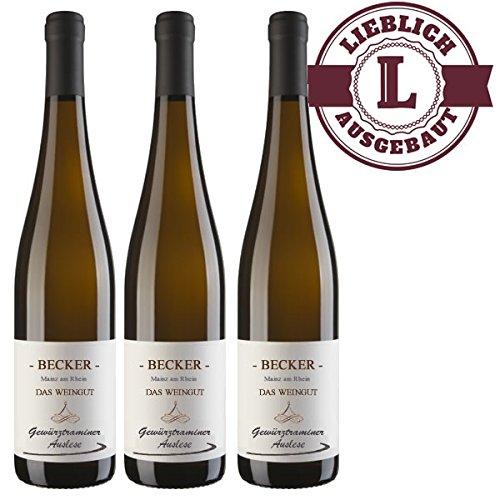 Weißwein Rheinhessen Gewürztraminer Weingut Becker Auslese lieblich (3 x 0,75 l)