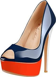 Onlymaker Women's Sexy High Heels Peep Toe Slip On Platform Pumps Stiletto Dress Party Wedding Shoes