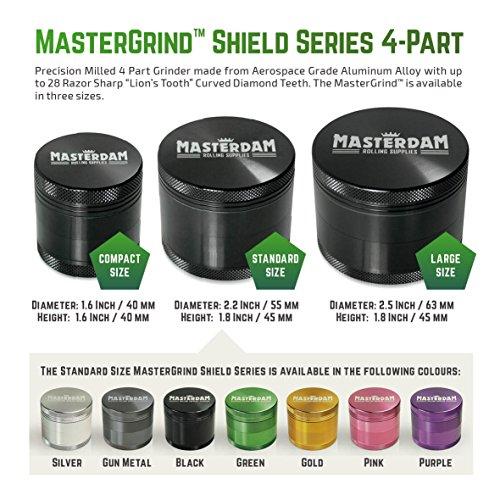 Masterdam Grinders Matte Series Premium Standard 2.2 Inch Herb Grinder with Micron Screen - 4 Part Matte Grey Anodized Aluminium