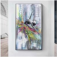 抽象ダンスバレリーナキャンバスポスターとプリントバレエガールグラフィティアートキャンバス絵画壁画リビングルームの装飾60x120cmフレームなし artppolr