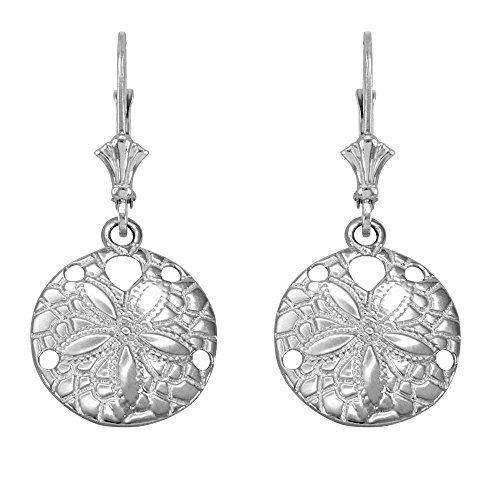 925 Sterling Silver Sea Star Sand Dollar Leverback Earrings