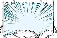 HD 7x5ftライトブルーの背景アニメーションスタイルディープブルー放射ライト白い雲写真の背景写真の背景スタジオの写真の背景の背景スタジオの小道具LYGY246