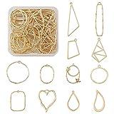 48 pz/scatola 12 stili oro geometrico aperto lunetta pendente telaio cavo ciondoli pressato fiore cornice charms per fai da te artigianato resina gioielli creazione