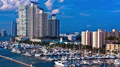 1000-Teiliges Puzzle Puzzel Miami Port Boote, Hotels, Wasser, Hintergrund, Landschaft Hobby Heimtextilien DIY