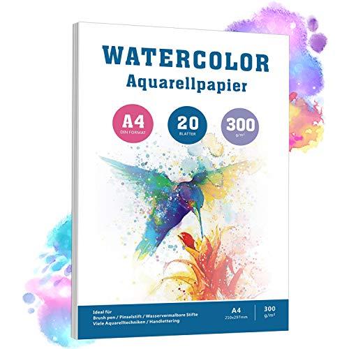 Aquarellpapier A4, 20 Blätter, 300 g/m², Weiß Aquarellblock mit Rauher Oberfläche, pH-neutral Watercolour Paper Pad, 100% Baumwolle Säurefreis Papier für Aquarellmalerei Zeichnung und Handlettering