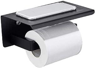 XYZMDJ Metalen toiletpapierhouder, toiletpapierhouder en legplank roestvrij staal, toiletrolhouder of smartphoneplank, wan...
