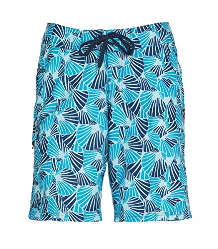 Kanu Surf Damen Audrey UPF 50+ Active Printed Swim and Workout Board Short Boardshorts, Alyssa Aqua, 38