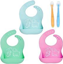 DoGeek Bavaglino 3 pezzi Bavaglino Silicone Impermeabile con Vaschetta Raccogli Gocce lavabile 3pcs