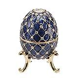 Gran azul y oro Metal adorno de huevo de Faberge Estilo 10x 65cm