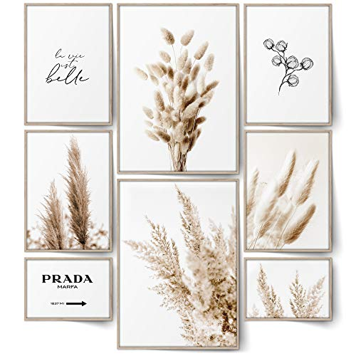 BLCKART Infinity Beige Love V2 Bilder Set Stilvolle Doppelseitige Pampas Gras & Trockene Pflanzen Poster Wohnzimmer Schlafzimmer Büro Deko (L   2x A3   4x A4   2x A5   ohne Rahmen, BEIGE LOVE   V2)