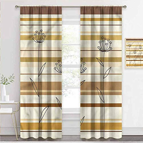 painting-home Window Curtain Floral, Hand Drawn Flowers Stripes Privacy Curtains Block Out Some of The Heat and Add Privacy W72 x L72 Inch