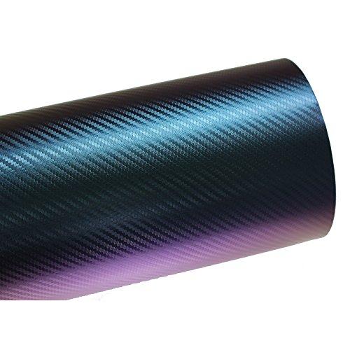 Finest Folia (10,56€/m²) BS05 3D Chamäleon Blau Carbonfolie BLASENFREI Luftkanäle Auto Folie (200 cm x 142 cm)