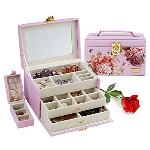 DGHJK Organizador de Caja de joyería Caja de exhibición de joyería Maleta de joyería Caja de Almacenamiento de múltiples Capas con Tachuelas (Color: Rosa, Tamaño: 23.516.515cm)