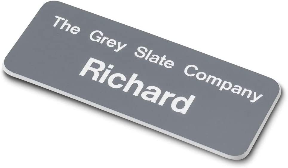 Black//White ENGRAVING WORLD 75mm x 30mm Personalised Engraved Staff Name Badge Pin