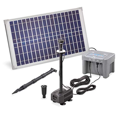 Solar Teichpumpe Professional mit 12V/12Ah Akkuspeicher und LED Beleuchtung - 25 Watt Solarmodul - 630 l/h Förderleistung - 1,4 m Förderhöhe - Springbrunnen Gartenteich Pumpe esotec 101925