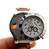Rechargeable USB Lighter Watches Clock Electronic Men Casual Quartz Wristwatches Highend Gift Box Windproof Cigarette Lighter (White)