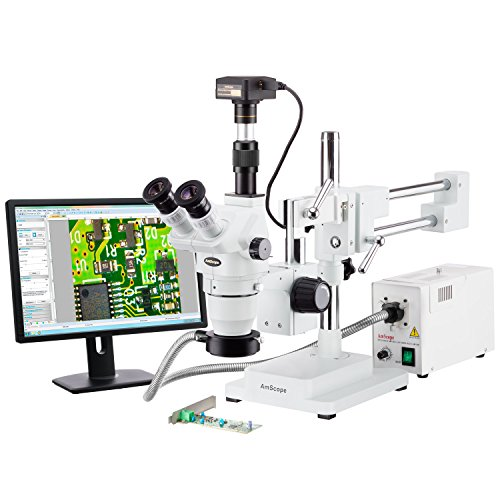 AmScope 2x-225x Trinocular Boom Stand Stereo Zoom Microscope + 14MP Camera