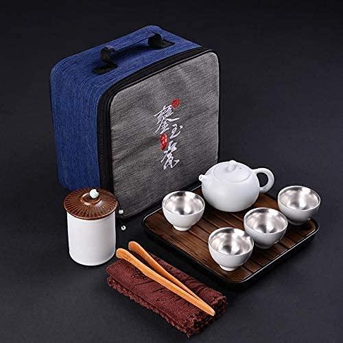 ZQADTU Tetera de Plata Juego de Tazas de té de Pared Interior de Plata esterlina de 9 Piezas Juego de té de de cerámica Completo Tetera de Oficina para el hogar para Regalo de Viaje (Color: 2, Tamañ