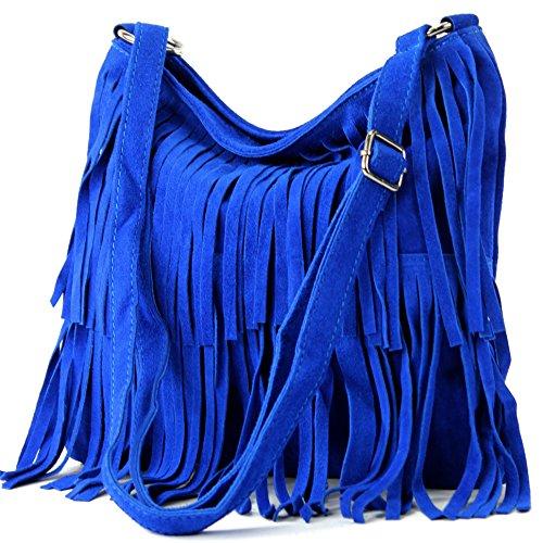 modamoda de - T125 - ital Schultertasche Fransen Wildleder, Farbe:Königsblau