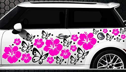 Werbedesign WANDTATTOO l3p Lot de 108 Autocollants pour Voiture Motif Fleurs d'hibiscus