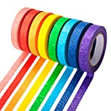 Colored Masking Tapes 12 Rolls 0.4 Inch, Painters Tape Rainbow Labeling Arts Decorative Craft Tapes 144 Yards for Crafts, School Projects, Party Decorations