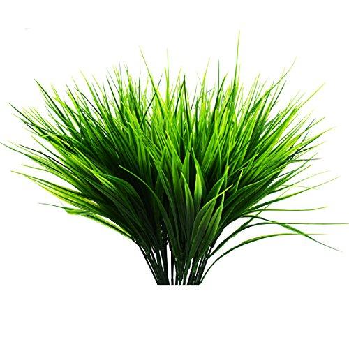 XONOR 6 Stück Künstliche Outdoor Pflanzen - Fake Kunststoff grün Sträuchern Weizen Gras Sträucher Blumen für Innen Außen Home Haus Garten Büro Hochzeit Party Decor