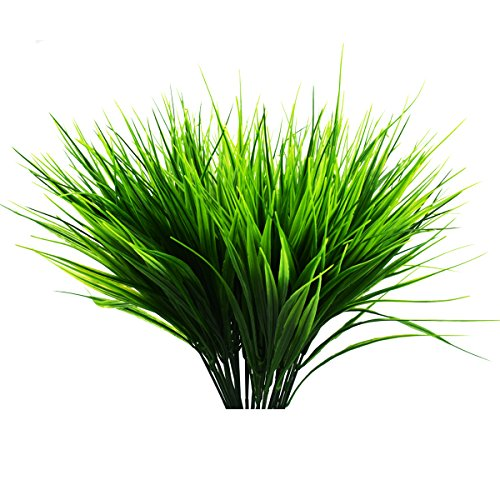 6 Stück Künstliche Outdoor Pflanzen - Fake Kunststoff grün Sträuchern Weizen Gras Sträucher Blumen für Innen Außen Home Haus Garten Büro Hochzeit Party Decor