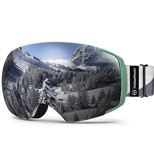 OutdoorMaster Ski Goggles Pro - Lente Intercambiable, sin Marco 100% UV400 Gafas Protectoras para la Nieve para Hombres y Mujeres (Marco Camo VLT 10% Lente Gris y Funda Protectora Gratis)