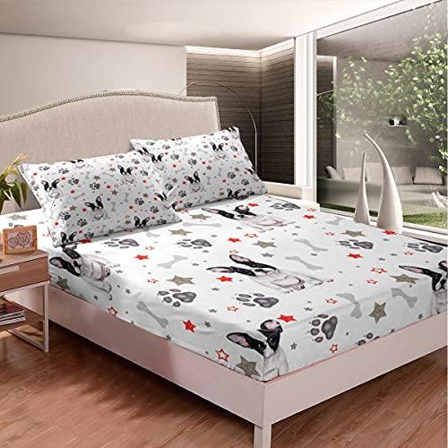 Set di lenzuola con bulldog francese, set di biancheria da letto per cani in 3D con tema animale, lenzuolo con angoli per bambini, ragazzi, ragazze, amanti dei cani, animali domestici, taglia unica
