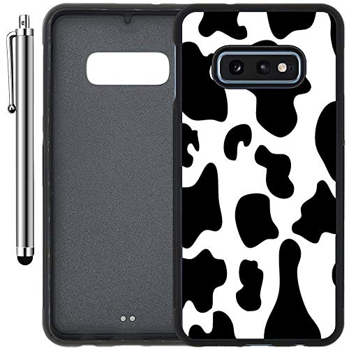 Custom Case Compatible with Galaxy S10e (5.8 inch) (Cow Print) Edge-to-Edge Rubber Black Cover Ultra Slim   Lightweight   Includes Stylus Pen by Innosub