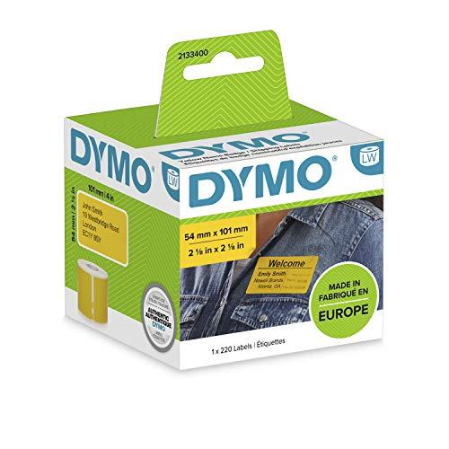 DYMO authentische LW Große Versandetiketten/Namensschilder | Schwarzer Druck auf gelbem Etikett | 54 mm x 101 mm | Selbstklebend | Rolle mit 220 Easy-Peel-Etiketten | für LabelWriter Label Maker
