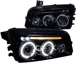 Spec-D Tuning LHP-CHG05G-TM Dodge Charger Rt Srt Sxt Glossy Black Halo Led Projector Head Lights