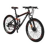 LZBIKE BICYCE S7-27.5 Bicicleta de Montaña 21 Velocidad Cambio Izquierda 3 Derecha 7 Marcos Amortiguación Montaña Bicicleta BlackOrange