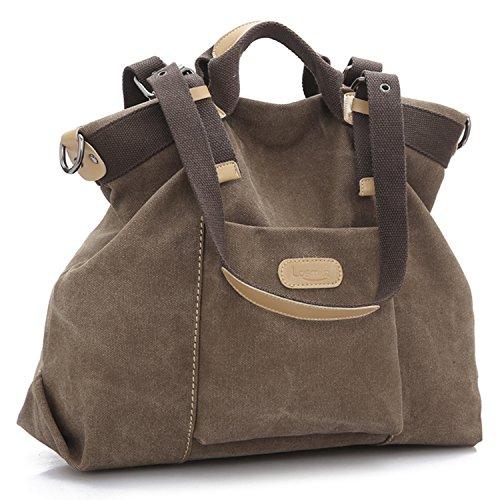 LOSMILE Damen Handtasche, Canvas Umhängetasche. (Kaffee)