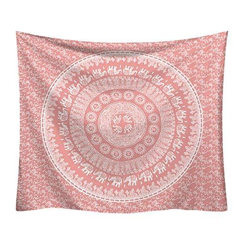 Tapiz de mandala bohemio, tapiz de elefante indio rosa, colgante de pared, decoración del hogar, paño de pared, tapiz de fondo, manta A1 180x230cm