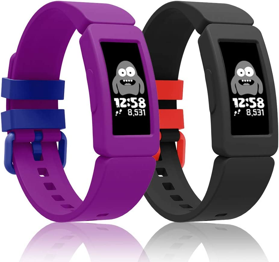 Intoval Silicone Bands for Fitbit ace 2,Replacement Bands for Fitbit ace 2 Bands for Kids Boys Girls Soft Sport Band for Fitbit Ace 2 Activity Tracker for Kids.(Grape+Black1)