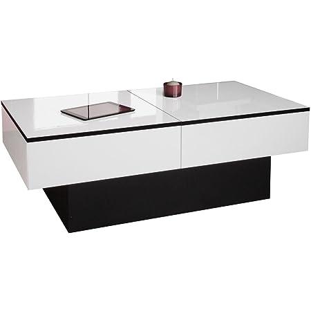 Berlioz Creations Amelie Table Basse, Blanc Brillant/Noir, 113 x 60 x 40 cm, Fabrication 100% Française