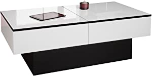 Berlioz Creations Amelie Coffee Table, Foil Chipboard, White Gloss and Black, 113 x 60 x 40 cm