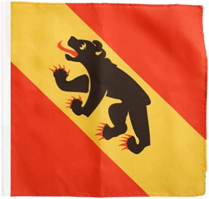 Stockflagge Schweiz Kanton Wallis 30 x 30 cm