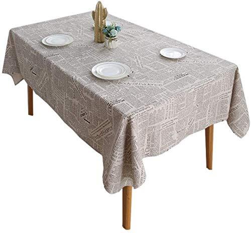 WYJW Tafelkleed Restaurant Katoen tafellinnen, tafelkleed Engels krant in grijze stof (Maat: 1x1,4 m)