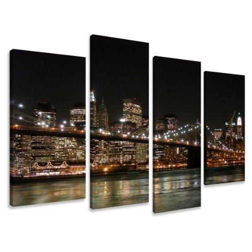 Visario Image sur Toile 130 x 80 cm Modèle N° XXL 6008 New York Tableaux pour la Mur, encadrés, prêts à Poser, Tout Les Images sur châssis géant Bois véritable.