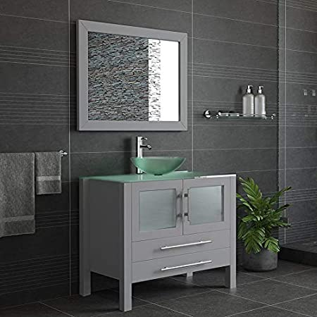 Amazon Com 36 Gray Single Vessel Sink Bathroom Vanity Tempered Glass Top Sink Chrome Faucet Barton Kitchen Dining