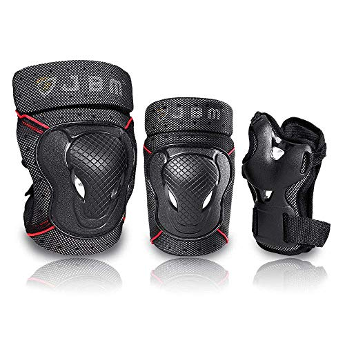 JBM BMX Bike Knee Pads and Elbow Pads with Wrist Guards Protective Gear Set for Biking, Riding, Cycling and Multi Sports Safety Protection: Scooter, Skateboard, Bicycle, Inline Skating (Black, Large)