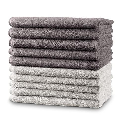 Twinzen - 10 x Pequeñas Toallas de Mano 30x50 cm. Dúo Gris & Blanco. Toallas de Baño para Mano, Esponja, Set de Baño, Juego de Toallas de Mano, pequeñas Toallas de Mano para el Lavabo