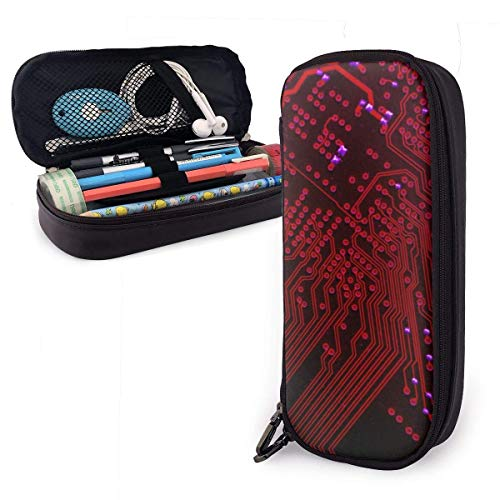 Pencil Case Pen Bag Red Themed Circuit Board Pencil Case, Large Capacity Pen Case Pencil Bag Stationery Pouch Pencil Holder Pouch with Big Compartments