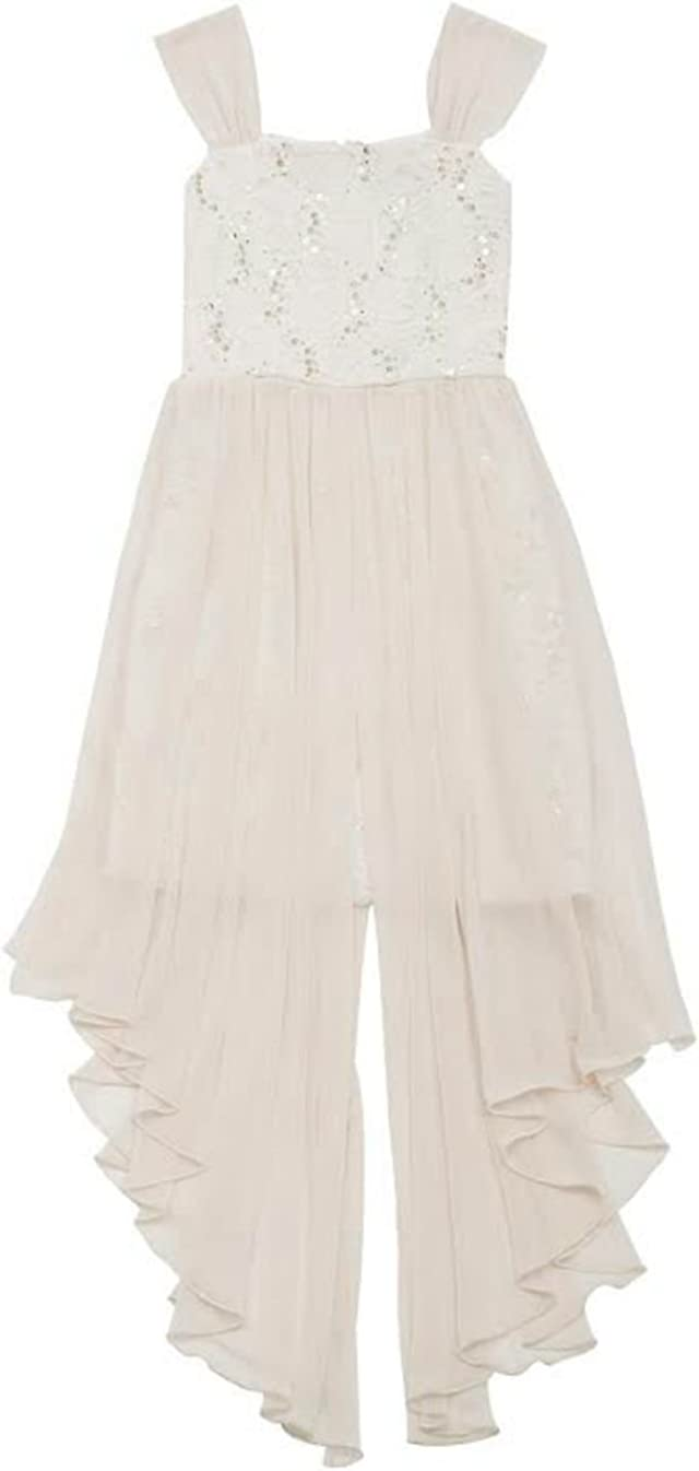 Rare Editions Big Girls Taupe and Ivory Lace Sequin Dress