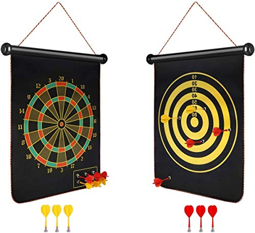 Toyshine 15 Inches Double-Sided Magnetic Dart Board Game with 6 Magnetic Darts | Indoor Outdoor Games for Adults, Kids (SSTP)