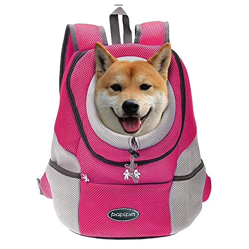 papipet Pet Dog Carrier Backpacks, Puppy Dog Hike Travel Front Pack with Breathable Head Out Backpack Carriers for Small Medium Dogs Cats Rabbits (XL, Pink)